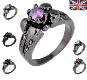 Christmas Gift Skull Ring Gothic Black Gold Filled M O Q