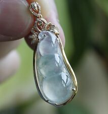 Certified Natural Type A Icy Translucent Jadeite Jade Bean Diamonds Gold Pendant