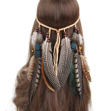 Bohemian Headband Feather Headpiece Hippie Headdress Adjustable Ethnic Party