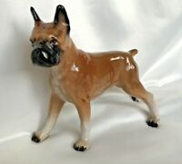 "Boxer Dog Ceramic Figurine Brown Black Glazed Finish Vintage Standing 7"""