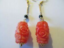 VINTAGE SYNTHEIC LARGE ANGEL SKIN CORAL CARVED ROSE-BLACK ONYX PIERCED EARRINGS