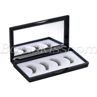4pcs Magnetic 3D Natural Thick Long False Reusable Eyelashes Eye Lash Mirror Box