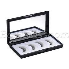 4pcs Magnetic 3D Natural Thick Long False Reusable Eyelashes Eye Lash Mirror Box