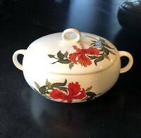 IVA LURE by Crooksville Flamingo Red Hibiscus Lidded Serving Dish