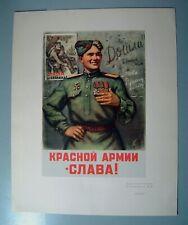 Poster Political WWII WW2 Soviet USSR Russian Original PROPAGANDA Soldier