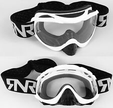 RIP N ROLL TEAR OFF MOTOCROSS MX GOGGLES HYBRID RnR WHITE with clear lens NEW