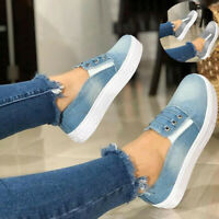 Canvas Trainers Casual Sneakers Flat Loafers Shoe Denim Pumps Size On Women Slip