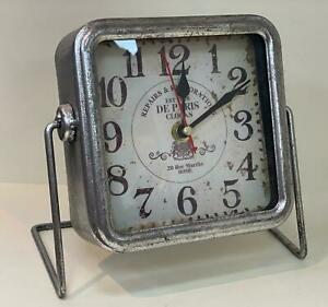 Vintage Square Silver Digital Standing Clock Base Time Decor Table Antique Watch