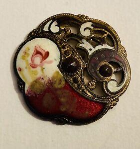 Medium Vintage/Antique Brass Enamel Button w/Cut Steels #2621