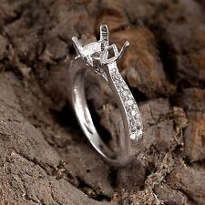 925 Sterling Silver Semi Mount Engagement Ring 6X6 MM Round Diamond Setting Ring