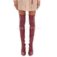 Schenkelhoch Sexy Damenschuhe Stilettoabsatz Stiefel Overknee Europa Boots Spitz