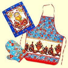 Tablier russe Matriochka et Samovar set de cuisine Tablier Poupee Russe Samovar