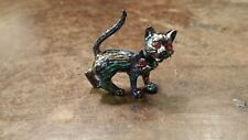 Cat Pin Free Shipping Vintage Blue Moveable Rhinestone