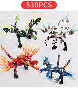 530 PCS 4 Fire Dragon Figures Blocks Kids Building Construction Toy For Children