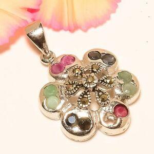 "Marcasite & Emerald & Sapphire Gemstone 925 Sterling Silver Pendant 1.18"" M1599"