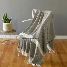 Cotton Brown Throws Geometric Woven Soft Patio Throw Blanket 50 x 60 inches