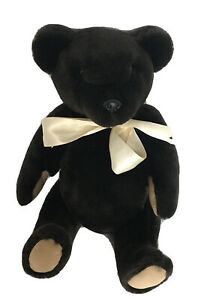 """Handmade Fur Teddy Bear Dark Brown Fully Jointed 17"""" Made By Delores Spicer VTG"""