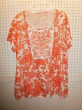 LAURA SCOTT WOMAN Plus 1X  Embroidered Orange Print T / Tee Top FREE Shpg NWTA