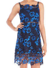 T TAHARI Lucile Black - Blue Floral Lace Overlay Party Dress SZ 6  NEW $158