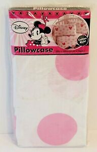 """Disney Minnie Mouse Pillowcase Standard NEW Pink 20"""" by 30"""" Girls Bedroom Decor"""