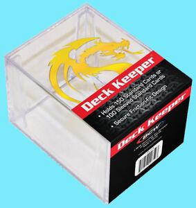 BCW GAMING DECK KEEPER BOX Clear Gold Dragon Two Piece Card Storage MTG Pokemon