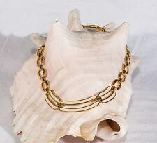 Vintage Napier necklace white enamel gold tone mid century links signed