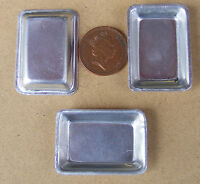 1:12 Scale 3 Deep Medium Oblong Metal Tin Tray's Dolls House Food Accessory MD