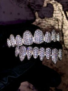 14k Plated Joker Silver Grillz Mouth Top Bottom Hip Hop Teeth Grills for Teeth