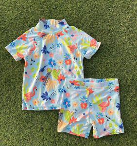 Girls Swimming Costume Baby TU floral flamingo cactus rash top shorts sun safe