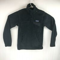 Patagonia Womens Black Fleece T Snap Pullover Size XS