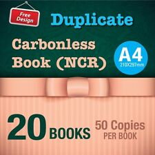 20 x A4 Custom Duplicate Carbonless QUOTE/Tax INVOICE Book + Free Design