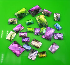 colorful faceted rectangle Acrylic Crystal flat back sew Rhinestones applique
