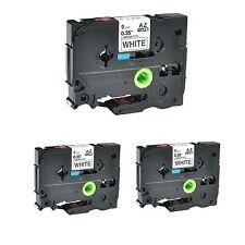 "3PK TZ221 TZe221 Black on White Label Tape for Brother P-Touch PT-1280SR 3/8"""