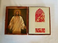 vintage bible Wood Box family heirloom Illustrated box made by union carpenters