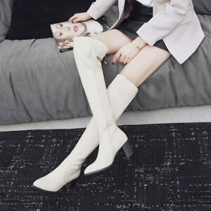 Punk Winter Women's Thick Heel Side Zipper Over-Knee Pointed Toe Boots Oversized