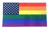 """2 PACK RAINBOW PRIDE AMERICAN FLAG BUMPER STICKER 4 1/2"""" X 2 1/2"""" car decal gay"""