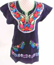 Embroidery Mexican Cotton Black Top Bohemian , Gypsy Hippie Top