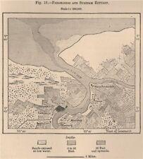 Paramaribo and Surinam Estuary. Suriname. Dutch Guyana 1885 old antique map