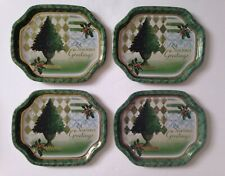 Vintage Xmas Tree Season Greeting Metal Tin Hospitality Tray Susan Zulauf Kitsh
