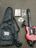 PS2 Guitar Hero LOT Game & Wired Controller Guitar Red Octane SG PSLGH GOOD
