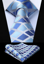 Woven Men Tie Navy Blue Gray Check & Plaid Necktie Handkerchief Set#TC817B8S