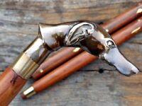 Designer Brass Dog Head Handle Antique Style Wooden Walking Stick Vintage Cane