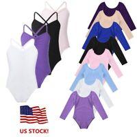US Girls Kids Ballet Dress Ballerina Dance Leotard Gymnastics Dancewear Bodysuit