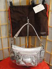 COACH Silver/Pink Patchwork Metallics Poppy Shoulder Purse Bag Card & Dust Cover