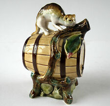 c.1900 Cat On A Barrel Majolica Figural Bottle Decanter