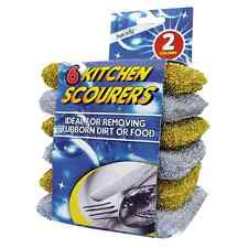 6PK KITCHEN SCOURERS SPONGE FILLED EASILY REMOVE STUBBORN STAIN SILVER & GOLDEN