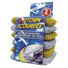 6pk Kitchen Scourers Sponge Filled Easily Remove Stubborn Stain Silver & Golden