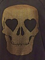 VANS Black gold Sweat shirt Small Heart eyes skull graphic Gothic Punk skater