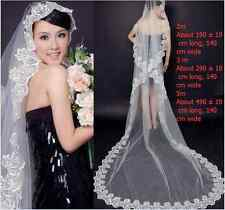 1T Wedding Mantilla Cathedral White Bridal 5M Veil Embroidered Lace Edge Long