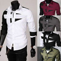 Men Fashion Luxury Dress Shirt Long Sleeve Tee Shirt Casual Slim Fit Stylish Top